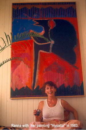 "Photo of the artist, Ranna ®, in 1983 with her painting  of ""Hypatia"""